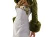 zijden outfit met groen bont(fake)